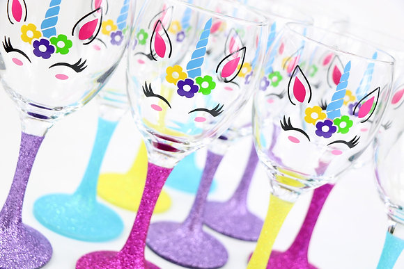 Glitter Unicorn Wine Glass