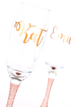 Personalised Glitter Champagne Glass