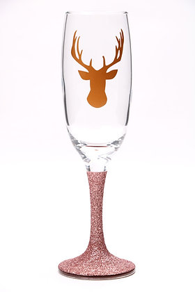 Rose Gold Glitter Stag head Champagne Glass