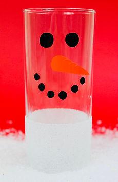 Snowman Glitter Hiball Glass