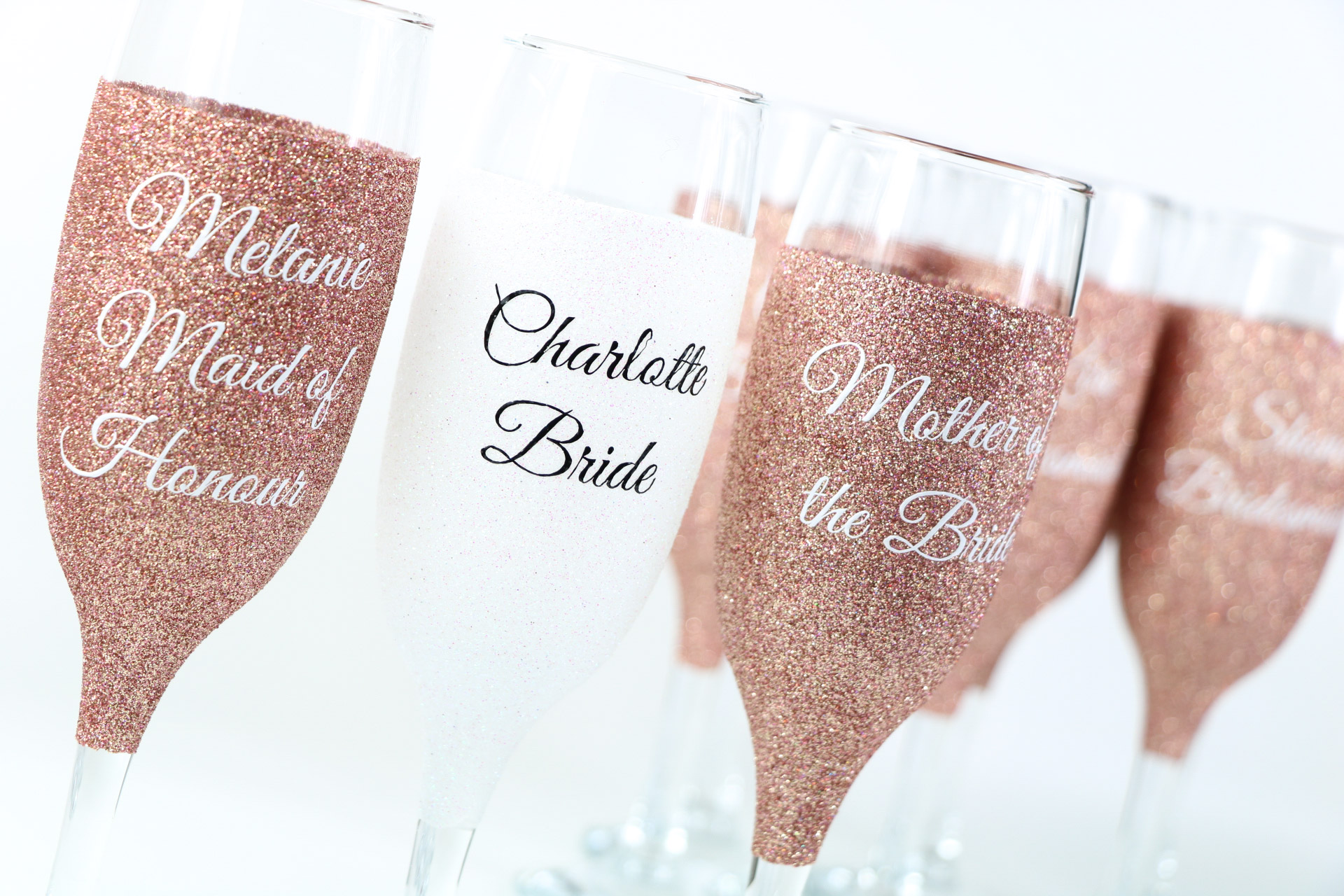 Personalised Glitter Champagne Glasses