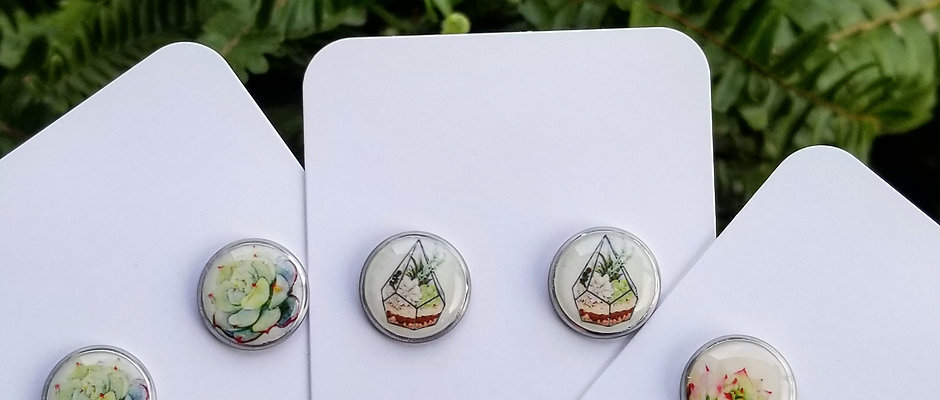 Resin & Stainless Steel Earrings