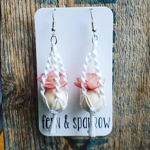 Pink Echeveria Macrame Plant Hanger Earrings