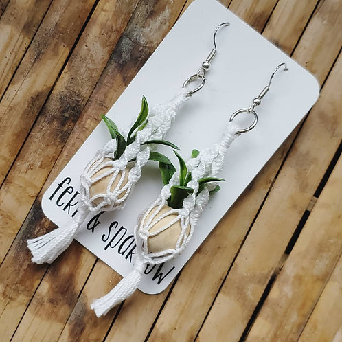 Macrame Plant Hanger Earrings