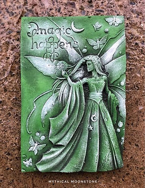 Green-Moon-fairy-stone-wall-ornament-plaque-gift