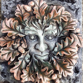 Orange-mythical-Stone-green-man-garden-wall-ornament-gift
