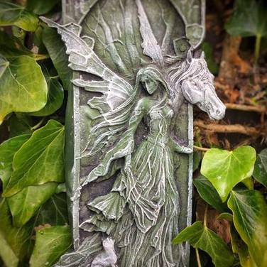 Angel & Horse Garden ornament