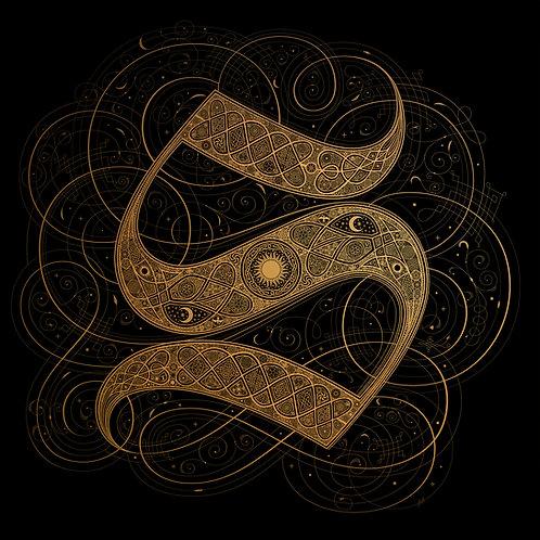 'S' - Metallic Rose Gold on Black