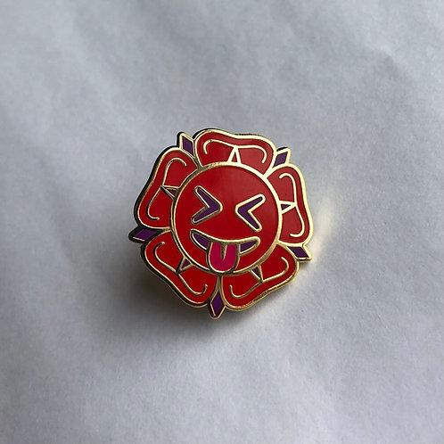 Heraldic Rose Emoji Pin Badge