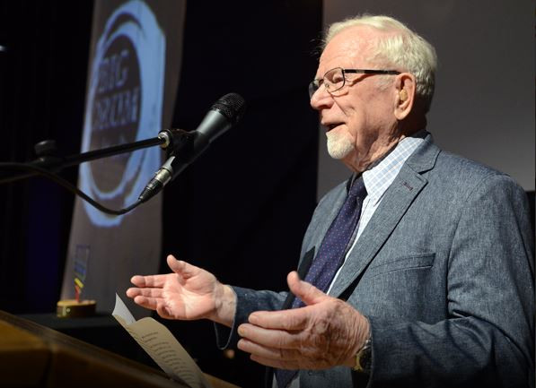 Father Herve Vallee accepts his Visual Arts award. Photo by PA Daily Herald/Peter Lozinski