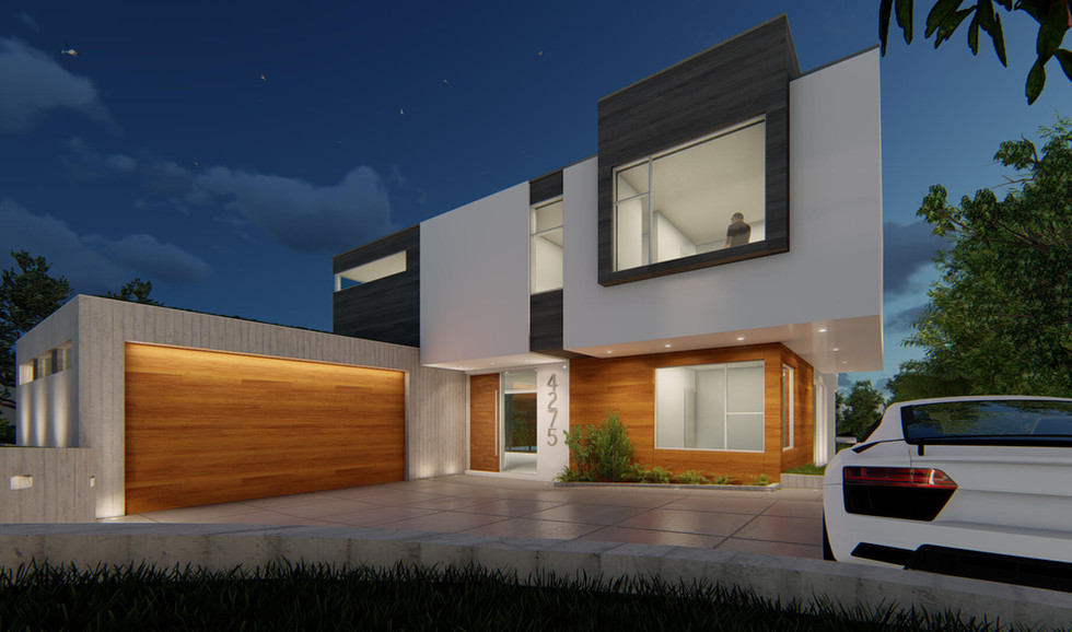 Private Residence Front Facade Close Night