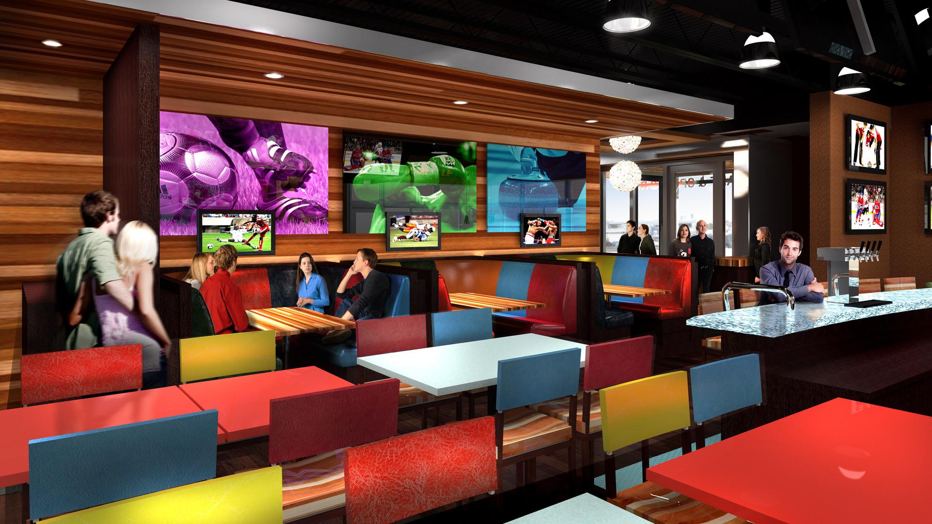 Boston Pizza Interior Seating Render
