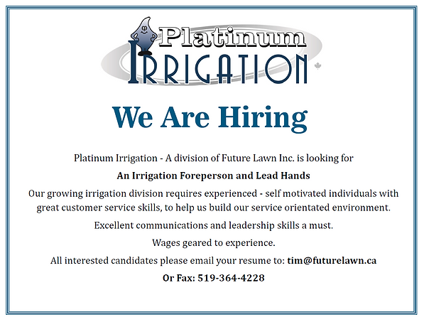 Platinum Irrigation Job Ad
