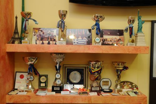 Τα κύπελλα και τα μετάλλια που έχει κερδίσει ο βραβευμένος κομμωτής με την ελληνική ομάδα κομμωτών.