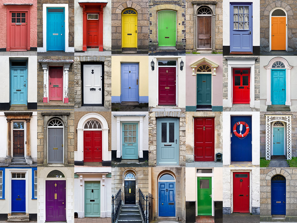 A photo collage of 32 colourful front do
