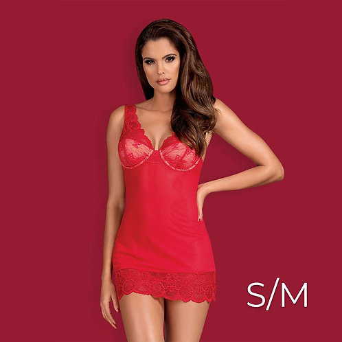 Obsessive - 853-CHE-3 chemise & thong S/M - Red