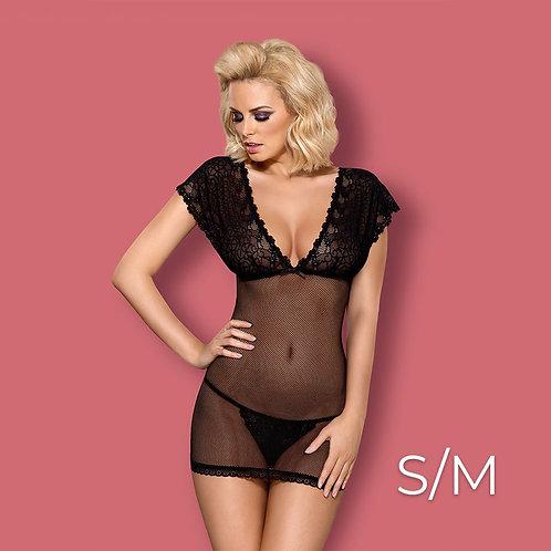 Obsessive - 821-CHE-1 chemise & thong  S/M - Black