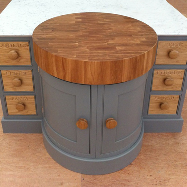 Curved Island Doors with Butcher Block