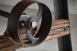 Pulley Wheel Table Detail by Billy Moore