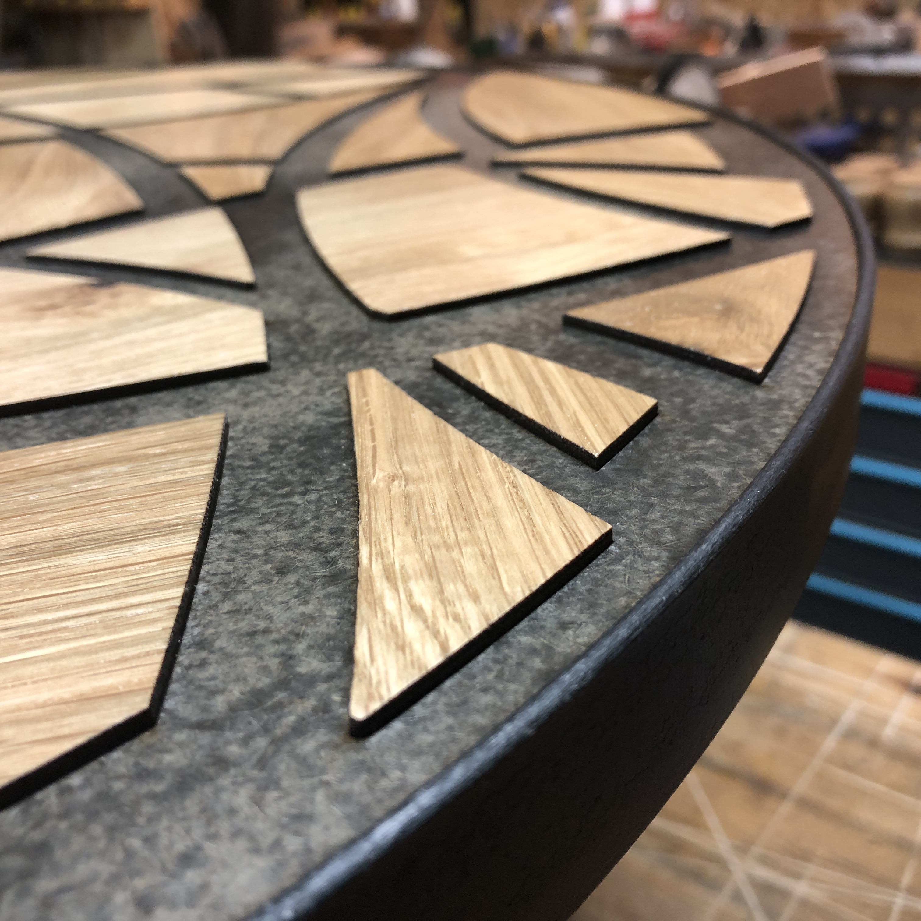 Round fretwork table detail by Brendan O'Donnell Design