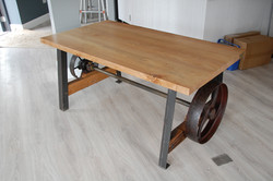 Pulley Wheel Table by Billy Moore