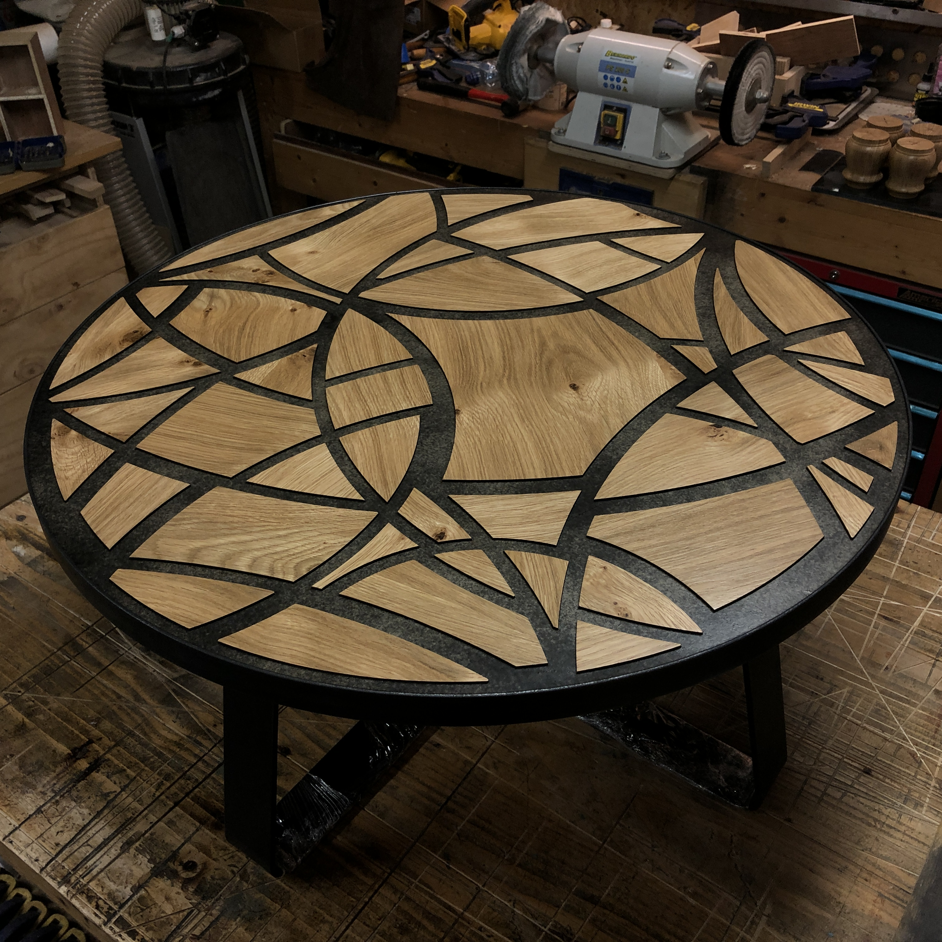 Round fretwork table by Brendan O'Donnell Design
