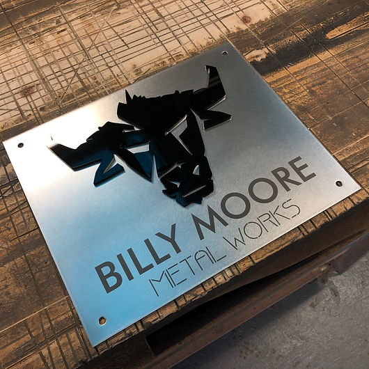 laser etched stainless steel sign