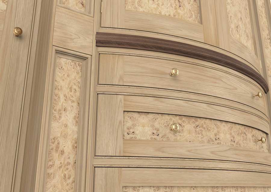 Burr Oak Wardrobe Detail