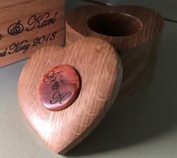 Oak Heart Wedding Ring Box