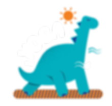 Website Elements_Blue Dino with elements