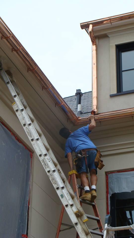 installing copper half round gutters