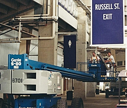 Installing gutters on ravens stadium in baltimore