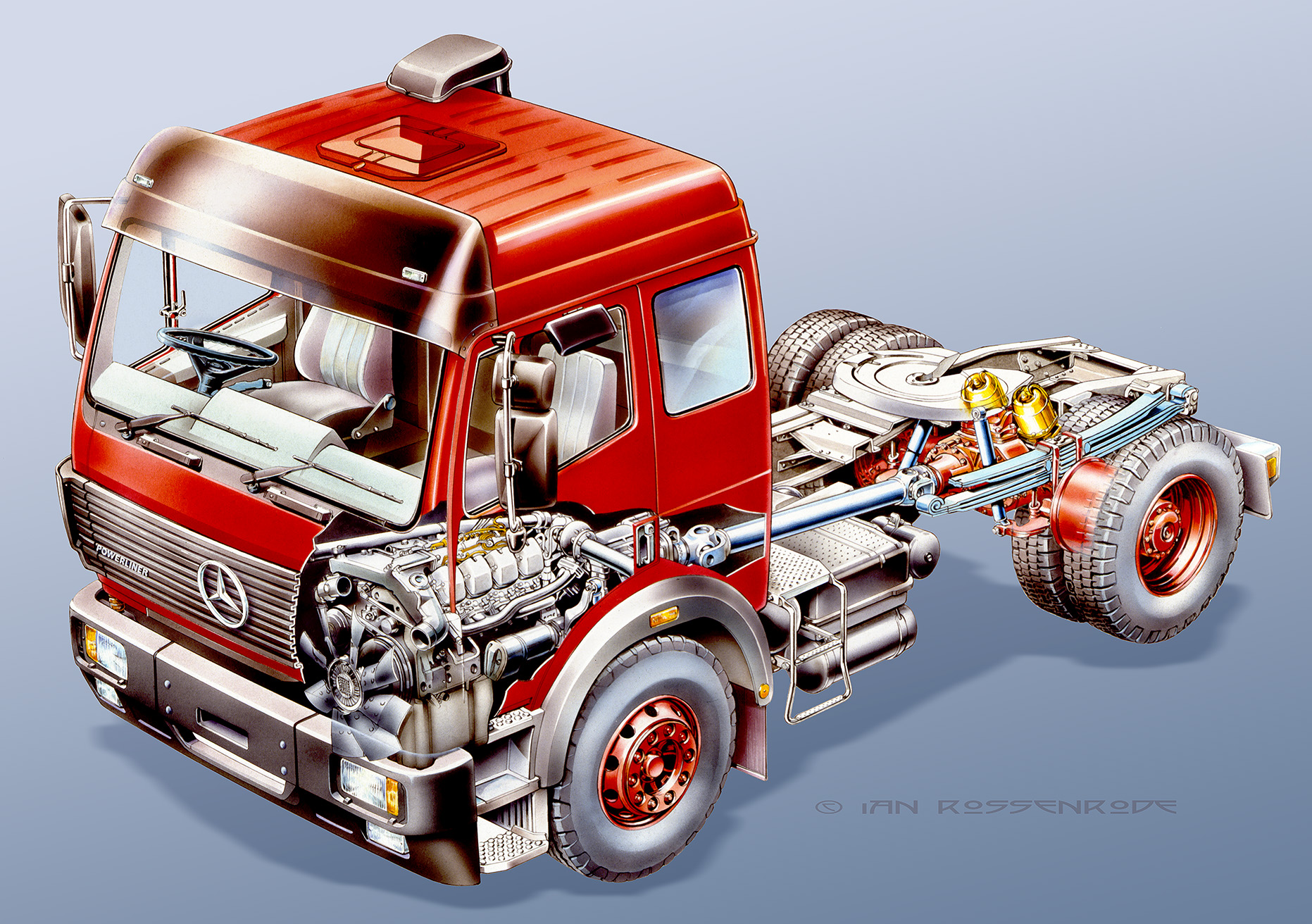 Mercedes truck brochure illustration