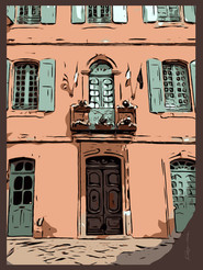 French Building facade poster