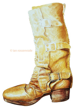 Home made boot watercolour illustration.