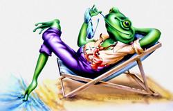frog on deckchair cartoon