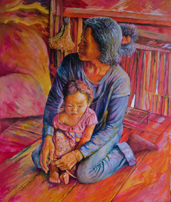 Cambodian Gran and child