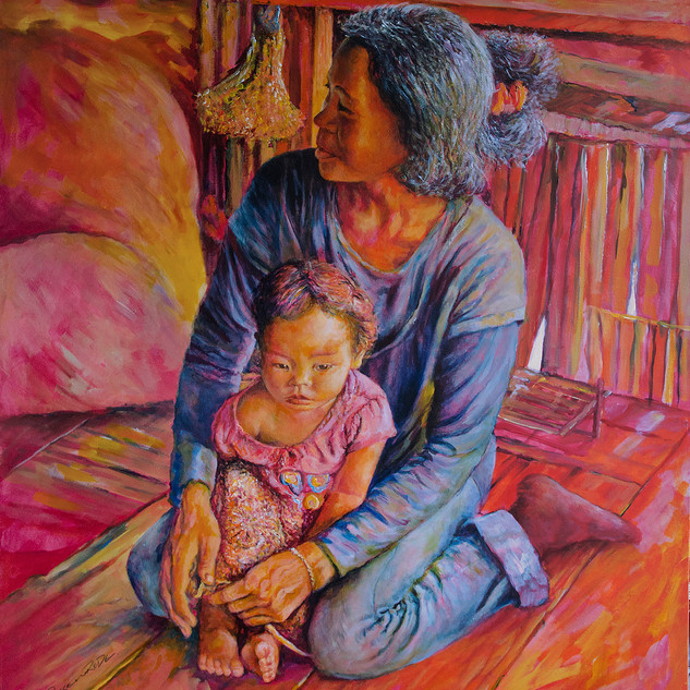 Mother and child - acrylics on box canvas