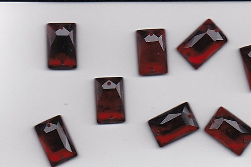 Garnet Red - Vintage Reproduction Art Deco Glass Jewels - Rectangle - 12x8mm