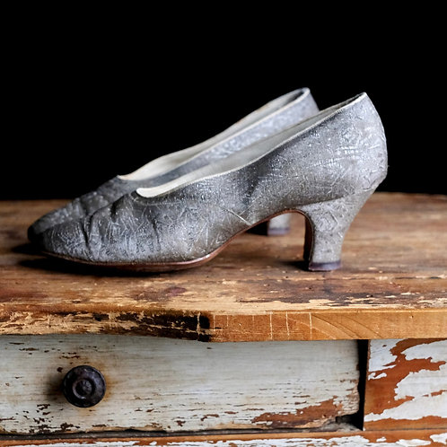 1920s Silver Lamé Brocade Shoes