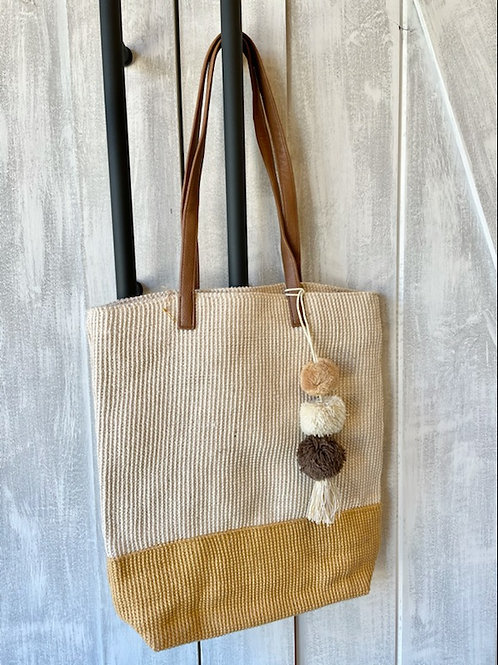 Two Toned Mustard and Tan Tote