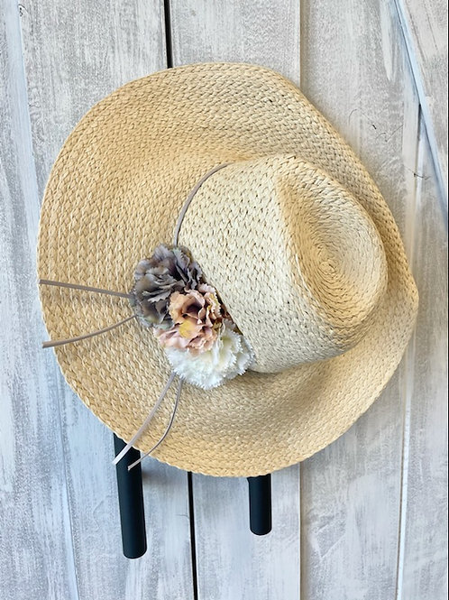Wide brim floral sun hat