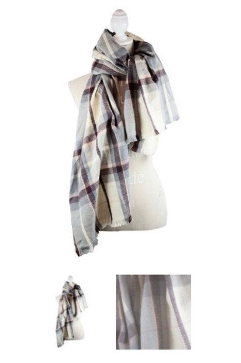 Cream grey pink burgundy plaid blanket scarf