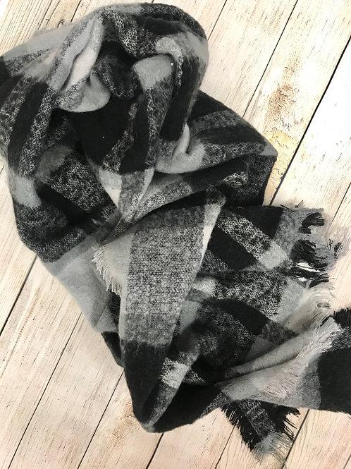 Black and Grey Plaid scarf