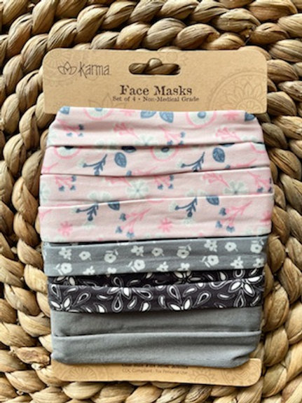 Petite floral grey/blush pink pleated face mask 4 pack