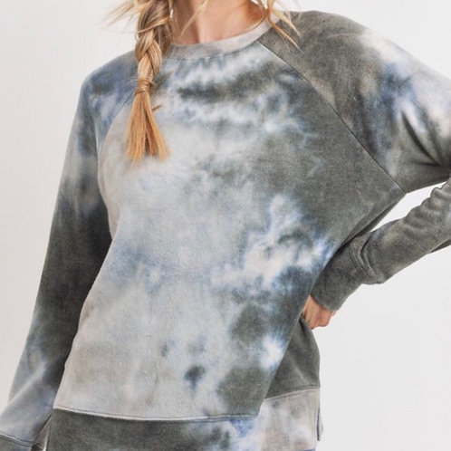 Tye Die Blue/Green/Grey Brushed Fleece Combo Sweater & Jogger