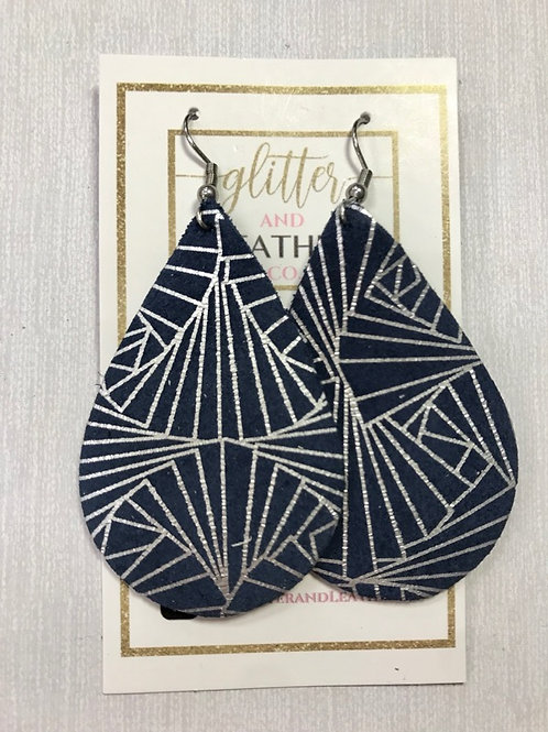 Navy Silver Abstract