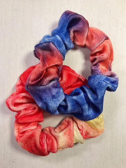 Mini Tye Die Pink & Blue Scrunchie combo