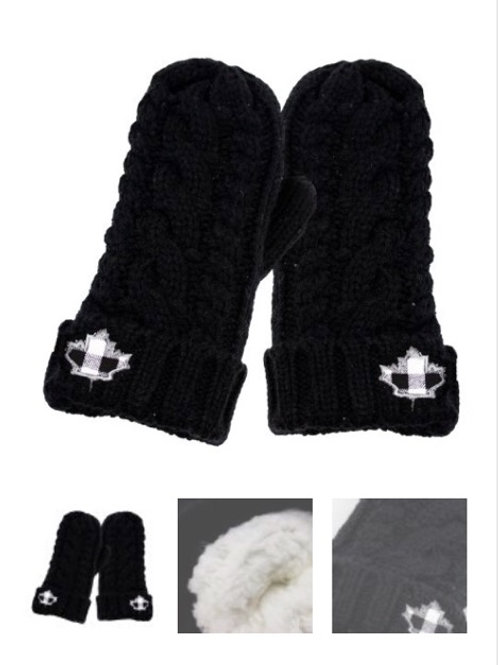 Black cable knit maple leaf mitts wit soft lining