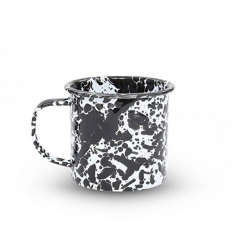 Black splatter enamel mug